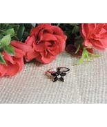 .925 Sterling Silver 925 Flower Genuine Natural Garnet Ring Size 8 Fine ... - $34.95