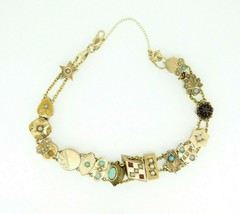 Yellow Gold Victorian Bracelet with Sixteen Antique Slides (#J4364) - $2,195.00