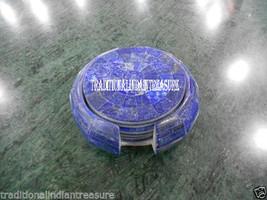 Marble Coffee Coaster Set Randm Lapis Gemstone Inlay Mosaic Kitchen Decor Gift - $230.75