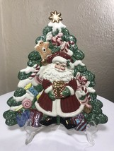 Vintage Fitz And Floyd Essentials Christmas Holiday Santa Tree Canape Pl... - $28.50