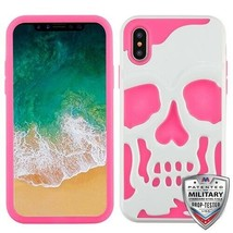 For APPLE iPhone XS/X Ivory White/Electric Pink Skullcap Hybrid Case Cover - $12.23