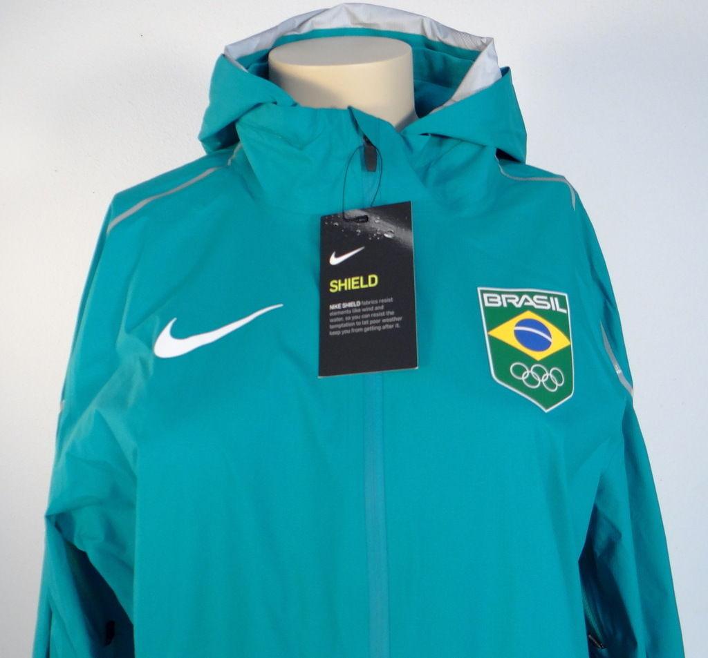 Nike Shield Team Brazil Teal Zip Front Hooded Running Jacket Brasil Women's NWT