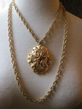 VTG Couture Trifari Pendant Necklace Double Chain Thick Gold Plated Desi... - $49.49