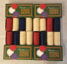 (4 box lot) Vintage 1963 Pleasantime Deluxe Poker Chips in Original Boxes - $34.64