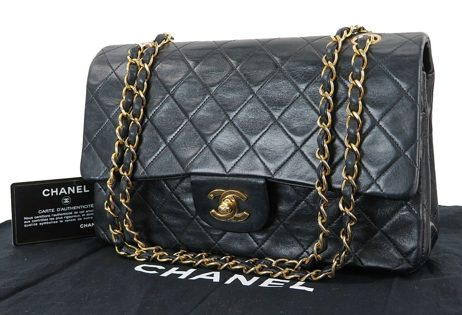 bbbf7a0ae31da0 Auth CHANEL Double Flap Black Quilted Leather Gold Chain Shoulder Bag  #32472 - $2,190.00