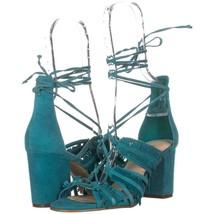 Nine West Genie Lace Up Block Heel Dress Sandals 701, Dark Turquoise, 7.... - $35.51