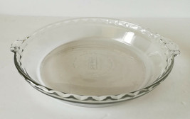 """Vintage Pie Plate Dish with Handles 9.5"""" Pyrex Clear Glass Ruffled Edge  - €6,48 EUR"""