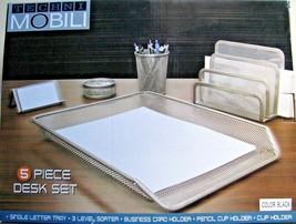 5 Piece Black Mesh Office Desk Set -Paper Tray/Pen Cup/Clip & Card Holde... - $19.99
