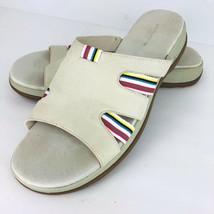 Liz Claiborne Flex Sandy Size 11 Beige Suede Leather Slip On Slides Sandals  - $39.59