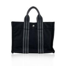 Authentic Hermes Paris Vintage Black and Grey Cotton Fourre Tout PM Bag - $460.35