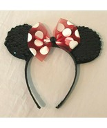 Disney Parks Minnie Mouse Sequin Ears Headband Black Red Bow Vacation So... - $11.99