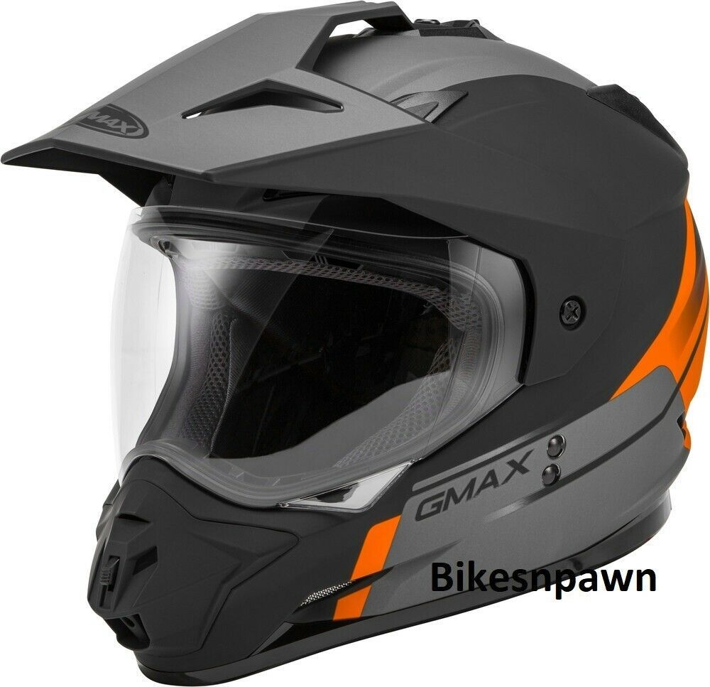 New XL GMax GM-11 Scud Matte Black/Orange/Gray Dual Sport Adventure Helmet DOT