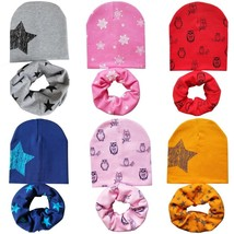 Baby Bonnet And Scarf Set Winter Cotton Hat Nice Star Print Collar Baby ... - $9.39