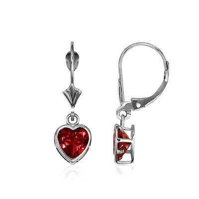 14K Solid White Gold Bezel Set Garnet 6mm Heart Leverback Dangle Earrings