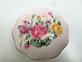 Vintage Lefton China Round Covered Trinket Box Handpainted Purple w/ Roses Japan - $23.97