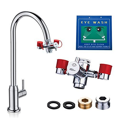 Emergency Eye Wash Station, Faucet Mounted Eyewash Station for Sink Attachment -