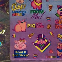 S405 MINT Lisa Frank Sassy Pigs Silly Sender Stickers Fulll Sheets Rare HTF 80s image 4