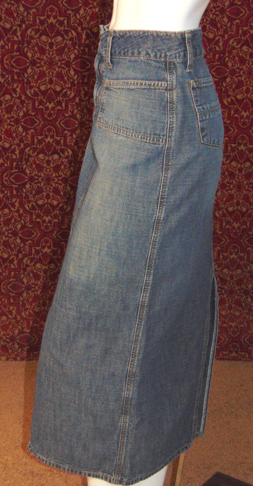 JALATE med blue cotton denim straight pencil below knee skirt Jr 3/4 (T07-01C8G)