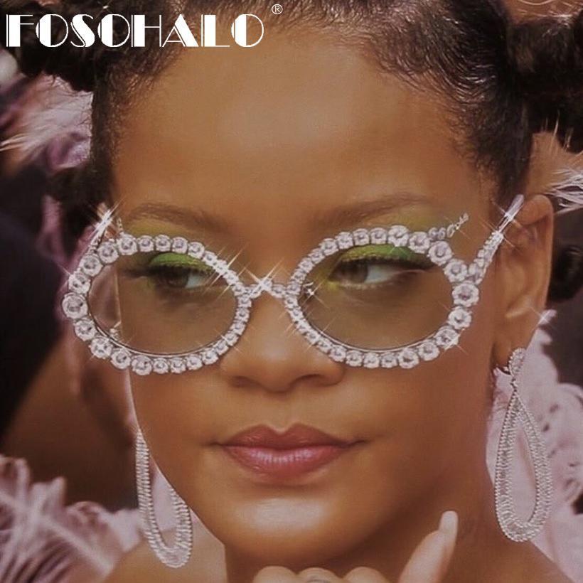 Men sexy shades oval rhinestone eyeglasses luxury brand designer sunglasses ladies eyewear uv400