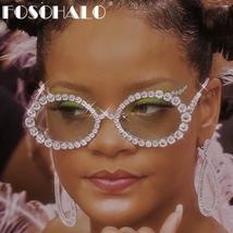 Diamond Round Sunglasses Women Sexy Shades Oval Rhinestone Eyeglasses Luxury Bra image 1