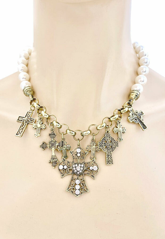 Antique Gold Tone Cross,Faux Pearl Charmed Necklace Set, Rhinestones,Christian - $17.05