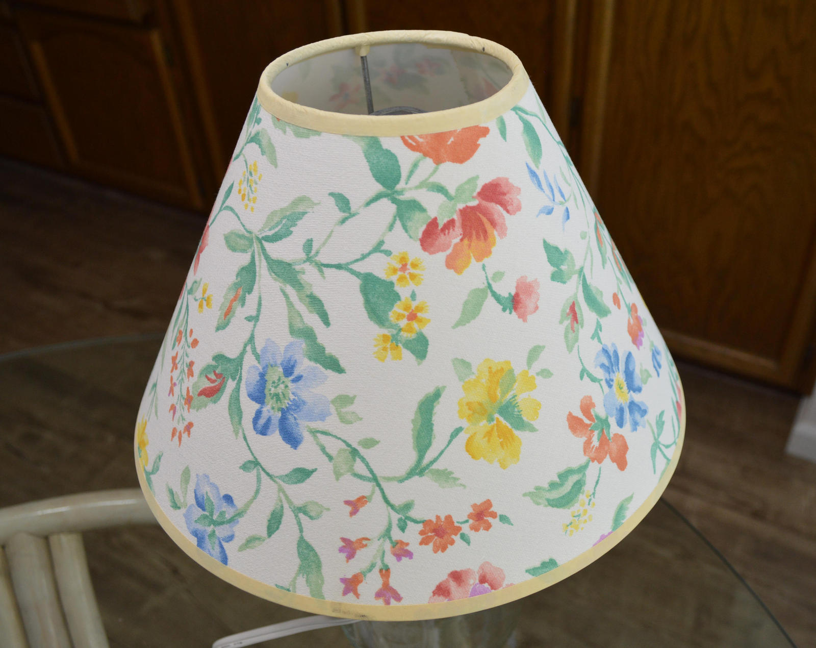 Clear Glass Fillable Bottle Table Lamp, With Multi-Color Floral Fabric Shade