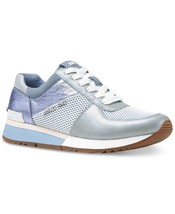 Michael Kors MK Women's Allie Trainer Leather Sneakers Shoes Pale Blue