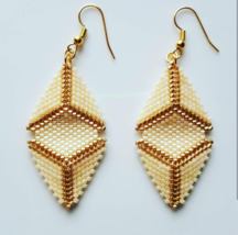 Gold Cream Triangle Peyote Earrings, Boho Style Beaded Dangle Earrings, ... - $25.45