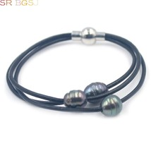 Free Shipping 10-12mm Freshwater Pearl 3-Strand Style Leather Cord Pearl Bracele - $10.03