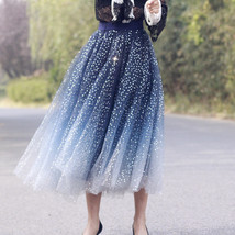 Sequined Tulle Midi Skirt Outfit Navy Gold Sparkly Midi Bridesmaid Skirt Custom image 2