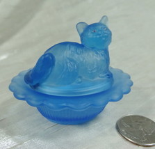 Cat on Nest Salt Dip Colonial Blue Satin Glass Kitty Kitten - $16.82