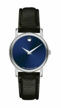 Movado Museum  Women's Watch 2100010 Swiss Quartz Blue Dial Black Leathe... - $177.70