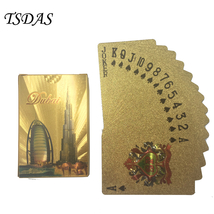 Gold Playing Cards 24K Gold Foil Plated Dubai Hotel Collection Golden Po... - $9.50