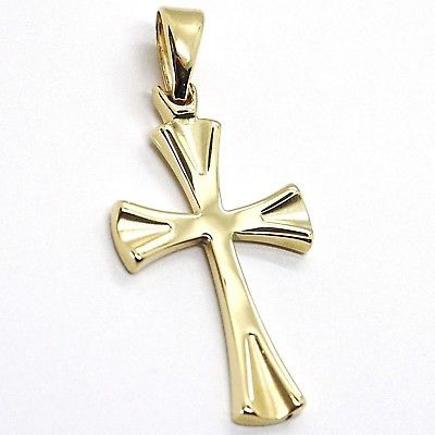 CROSS PENDANT YELLOW GOLD 750 18K, PENDANT, ROUNDED SHAPE, SATIN, ITALY MADE