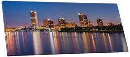 "Pingo World 0706QZR1PFY ""Milwaukee Night Skyline Panoramic"" Gallery Wrap... - $54.40"