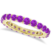1CT Purple Amethyst Eternity Ring 14K Yellow Gold - $595.04+