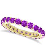 1CT Purple Amethyst Eternity Ring 14K Yellow Gold - $595.04+