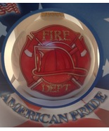 Christmas Ornament Red Glass Ball Fire Department First In Last Outu - $13.81