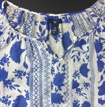 Blue Floral Blouse Gap Small Elastic Waist Cotton Keyhole Neck 3/4 Sleeves Sheer - $17.46