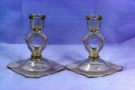 Paden City 1930 Gothic Garden Yellow Set of 2  Candle Sticks - $69.29