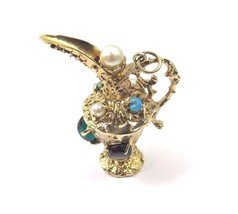 14k Yellow Gold Antique Pitcher Charm Pendant With Color Stones - $947.88