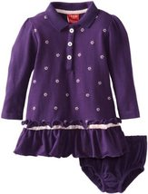 Izod Baby Girls' Pique Long Sleeve Dress and Diaper Cover, Purple, 12 Months