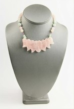 VINTAGE ESTATE CHINESE EXPORT ROSE QUARTZ AVENTURINE & AMETHYST LEAF NEC... - $55.00