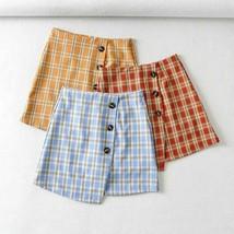 Latest Romantic Plaid Summer Retro High Waist Button Short Skirts Sweet ... - $27.99