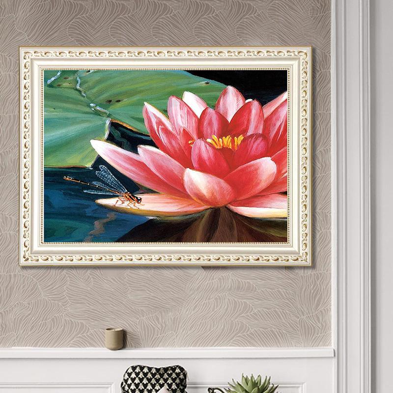 DIY Diamond Painting Red Lotus Flowers 5D Embroidery Diamond Painting