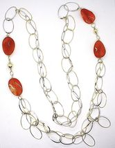925 Silver Necklace, Carnelian Oval Crimped, Double Chain, 110 cm long image 3