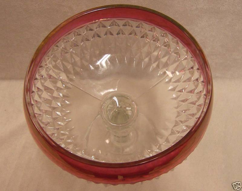 VINTAGE DIAMOND POINT  INDIANA GLASS RUBY COMPOTE DISH