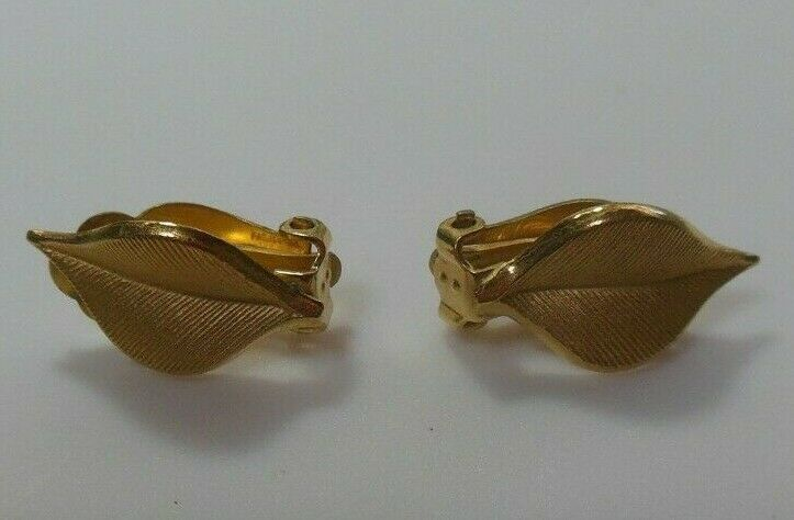 Primary image for Vintage Signed CRCo 12k Gold filled Clip-on Leaf Earrings
