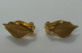 Vintage Signed CRCo 12k Gold filled Clip-on Leaf Earrings  - $34.65