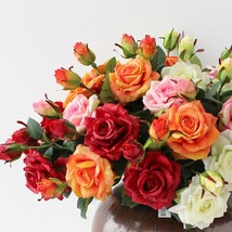 Artificial Latex rose Flowers for Wedding Two Heads Real Touch Flower ro... - $25.50